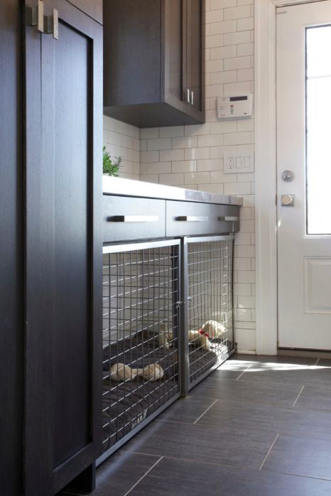 mudroom dog crate